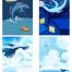 24款唯美水彩卡通晚安蓝鲸鱼装饰插画H5手机壁纸背景PSD设计素材