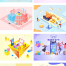 100款创意2.5D商场电商购物插画背景海报矢量AI素材