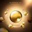 12款高端精华金色美容化妆品透明水滴展示广告海报PSD模板素材图
