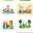 24款和谐友爱家庭结婚父母全家福手绘卡通插画PSD设计素材模板