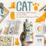 26款可爱欧美卡通动漫猫吃鱼儿童产品包装图案背景PNG免抠素材