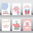 18款扁平化卡通生日庆祝卡片矢量素材PSD和EPS源文件打包下载