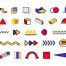 100款时尚潮流现代欧美几何图形圆环三角图案PNG免抠装饰元素素材
