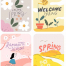 38款春天插画人物赏森林公园郊外野营粉色海报AI矢量设计素材