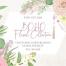 波西米亚简约粉色玫瑰花植物手绘素描水彩PNG免抠设计素材图