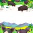 7款卡通农场庄园农家乐养殖猪羊牛手绘插画装饰画芯素材PSD模板