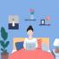 12款手绘插画单身女孩家居生活做菜学习办公休息设计素材源文件